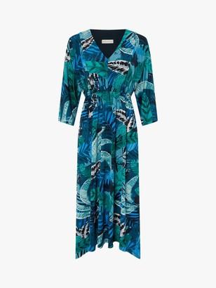 Monsoon Sandra Tropical Leaf Print Midi Dress, Multi