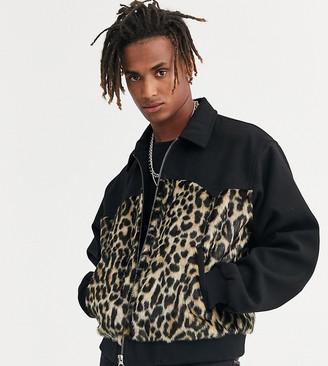 Heart N Dagger cut and sew animal faux fur jacket in black