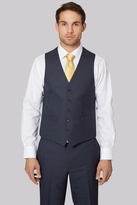 Moss Esq. Regular Fit Blue Check Waistcoat