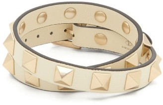 Valentino Rockstud Leather Wrap Bracelet - Womens - Ivory