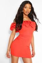 boohoo Scuba Rouched Detail Bardot Mini Dress
