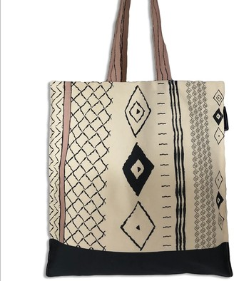 The Humble Cut Boho Canvas Tote - Dark Blue & Dusky Pink on Unbleached Canvas