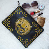 paperCutts designs Embroidered Metallic Tiger Leather Clutch Bag