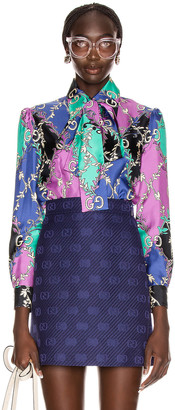 Gucci GG Rhombus Blouse in Violet & Black | FWRD
