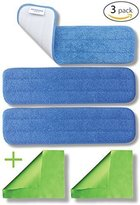 """3-pack 18"""" Microfiber Washable Mop Pads - Reusable 450gsm Hygen eCloth Flat Heads For Wet Or Dry Floor Cleaning, Scrubbing, Childcare Supplies, House Washing Solutions Refills by MicrofiberPros"""