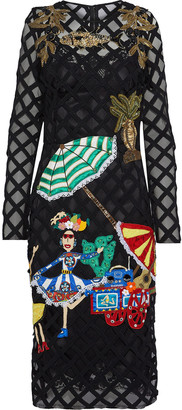Dolce & Gabbana Appliqued Embroidered Tulle Dress
