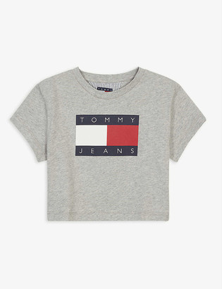 Tommy Hilfiger Flag logo cotton cropped T-shirt 4-12 years