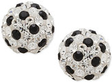 Macy's Clear and Black Crystal Fireball Stud Earrings in 14k White Gold