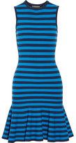 Michael Kors Striped Stretch-knit Mini Dress - Blue