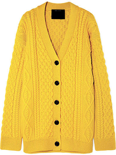 Marc Jacobs Cable-knit Wool Cardigan - Yellow