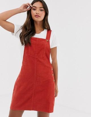 Brave Soul alexa cord dungaree dress-Copper