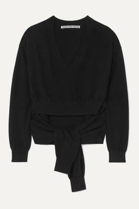 Alexander Wang Tie-detailed Cutout Wool-blend Sweater - Black