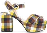 Prada checked platform sandals