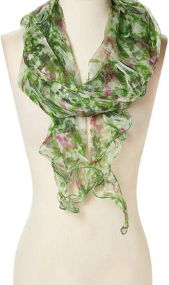 Naturally Knotty Women's Accent Scarves Green/White/Pink - Green & White Abstract Sheer Silk-Blend Scarf