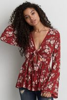 American Eagle Outfitters AE Front Keyhole Bell Sleeve Top