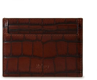 Mulberry Continental Credit Card Slip Cognac Brown Vintage Croc Print