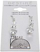 Crystallite Clear Round Rondelle Dangle Earrings