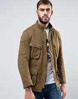 Barbour International Lockseam Biker Jacket Cotton Slim Fit In Tan