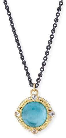 Armenta Old World Blackened Sterling Silver Round Pendant Necklace with Diamonds