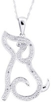 0.03 CT.T.W. Diamond Dog Animal Pendant in Sterling Silver