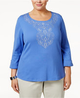 Karen Scott Plus Size Cotton Embellished Top, Only at Macy's