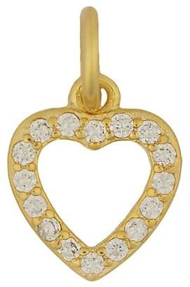 Mocha Sterling Silver Open Heart Charm - Light Gold