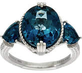 Judith Ripka Sterling London Blue Topaz ThreeStone Ring