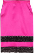 Givenchy Skirt In Black Lace-trimmed Bright-pink Silk-satin - FR34