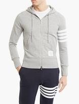 Thom Browne Grey Cotton Striped-Sleeve Hoodie
