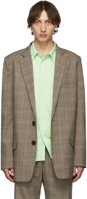 Tibi SSENSE Exclusive Brown Check James Long Blazer