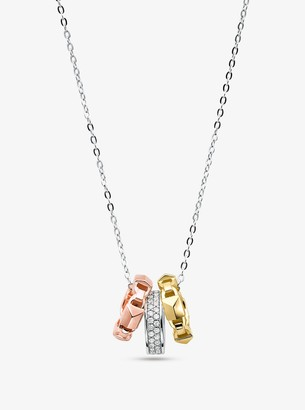 Michael Kors Precious Metal-Plated Sterling Silver Tri-Ring Necklace