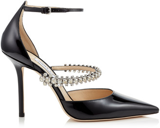 Jimmy Choo BOBBIE 100 Black Patent Leather Pointy Toe Pumps with Crystal Strap