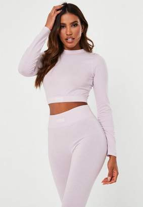 Missguided Pink Msgd Long Sleeve Crop Top