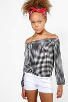 boohoo Girls Gingham Bardot Long Sleeve Top