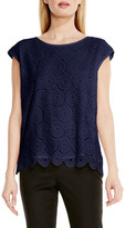 Vince Camuto Cap Sleeve Embroidered Lace Blouse (Petite)