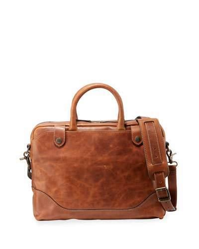 Frye Men's Logan Slim Leather Briefcase, Brown