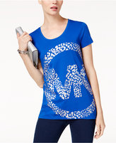 MICHAEL Michael Kors Leo Metallic Logo Print T-Shirt,a Macy's Exclusive Style