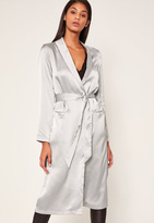 Missguided Silver Satin Duster Jacket