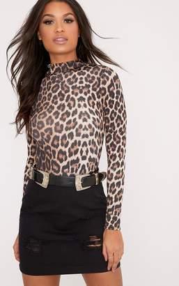 PrettyLittleThing Sharlisa Brown Slinky Leopard Print Thong Bodysuit