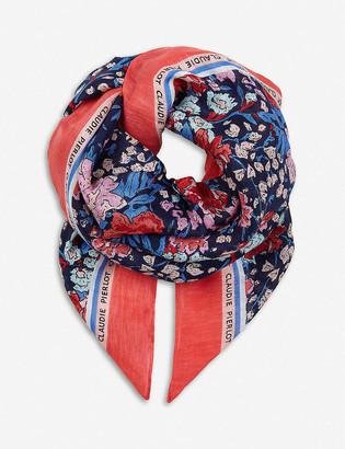 Claudie Pierlot Floral-print linen and cotton-blend scarf