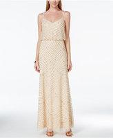 Adrianna Papell Spaghetti-Strap Beaded Blouson Gown