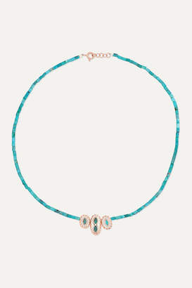 Pascale Monvoisin Montauk N2 9-karat Rose Gold, Turquoise And Resin Necklace