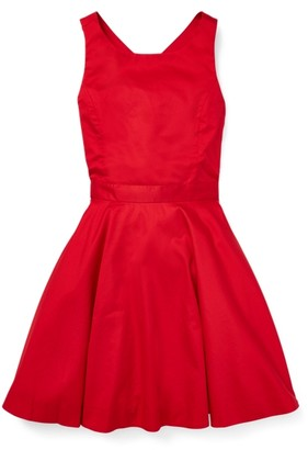 Ralph Lauren Crossback Cotton Satin Dress