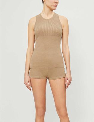 Reebok x Victoria Beckham Ribbed wool-blend shorts