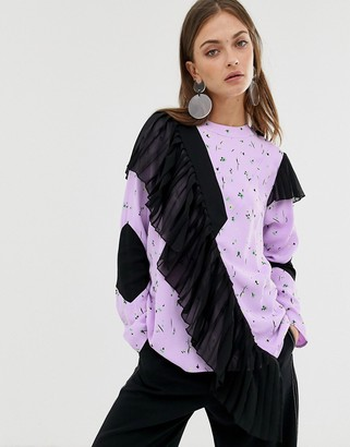 Asos pleated panel top in floral print