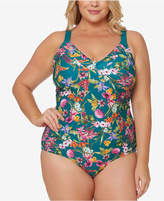 Jessica Simpson Plus Size Printed Corset-Back One-Piece Swimsuit Women's Swimsuit