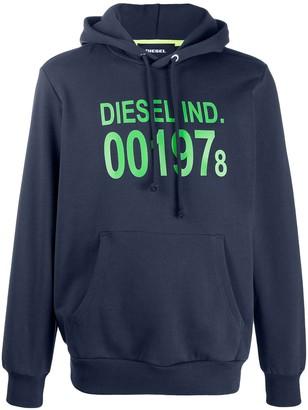 Diesel two tone logo print hoodie