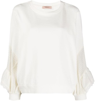 Twin-Set Embroidered-Panel Cotton Sweatshirt