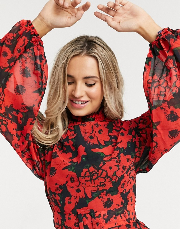 Thumbnail for your product : Hope & Ivy high-neck belted midaxi dress with open back in vibrant poppy print