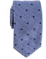Black Cetona Blue Polka Dot Silk and Wool Tie
